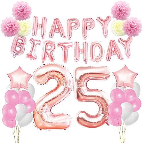 KUNGYO Decoraciones de Feliz Cumpleaños 25 Oro Rosa Happy Birthday Bandera - Gigante Número 25 Helio Globos, Cintas, Flores de Papel Pom, Globos de ...