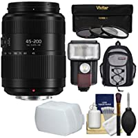 Panasonic Lumix G Vario 45-200mm f/4-5.6 II Power OIS Zoom Lens with Flash + 3 UV/CPL/ND8 Filters + Backpack + Diffuser + Kit