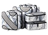 6 Set Packing Cubes,3 Various Sizes Travel Luggage Packing Organizers (Geometry Grey)