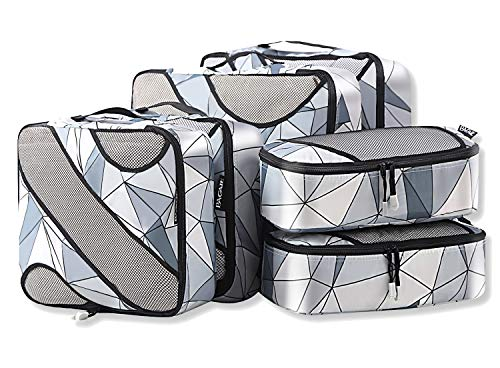 6 Set Packing Cubes,3 Various Sizes Travel Luggage Packing Organizers (Geometry Grey)