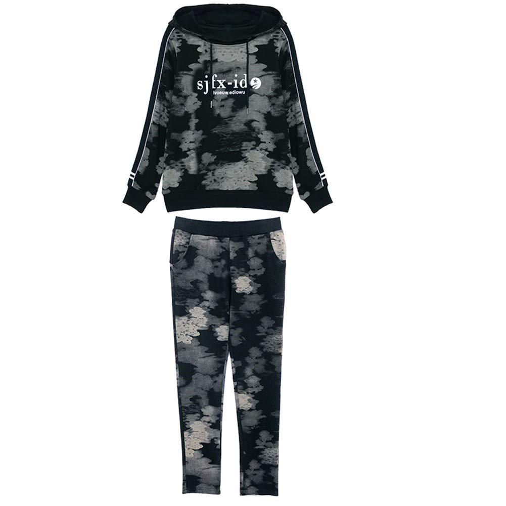 Lxj Sweater Frauenkleidung Sportanzug Weibliche Frühling Und Herbst 2018 Kapuzen-Self-Culture Camouflage Pullover Zweiteilige Student Freizeitkleidung Sportbekleidung