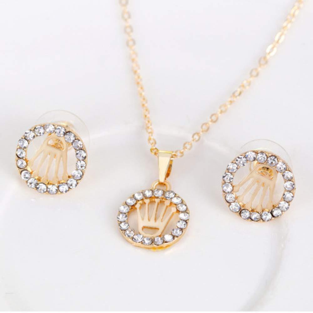 MYYQ Women Necklace Pendant,Openwork Crown Jewelry Column Necklace Earrings Ring Bracelet Four-Piece Set Perimeter 45cm