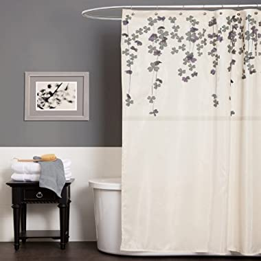 Lush Decor Flower Drop Shower Curtain, 72-Inch by 72-Inch, Ivory/Purple
