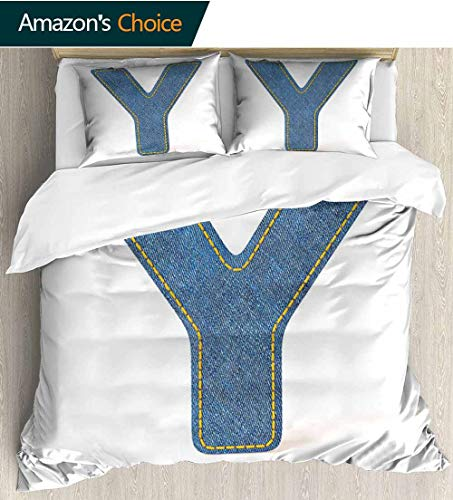 Letter Y Home Duvet Cover Set,ABC of Vintage Fashion Theme Jeans Fabric Denim Texture and Uppercase Y Image Bedding Set for Kids,Boys and Teens 79