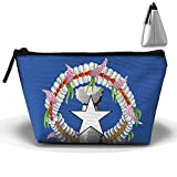 Kuswaq Northern Mariana Islands Flag Creative Large Capacity Trapezoidal Storage Bag Organizer Portable Pouch