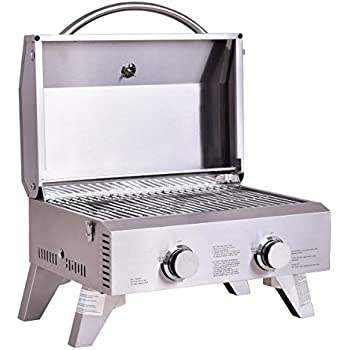 Giantex Propane Tabletop Gas Grill Stainless Steel Two Burner BBQ, With  Foldable Leg, 20000 BTU, Perfect For Camping, Picnics Or Any Outdoor Use,  ...
