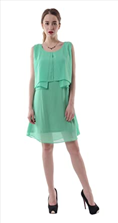 c606b8e5e346 Zohya Women s Summer   Casual   Work   Skater Dress Green at Amazon ...
