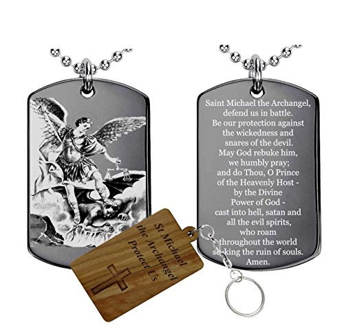 Saint Michael Medal Necklace (Engravable-Gifts St Michael(Stainless Steel) the archangel prayer-Medal-Necklace)