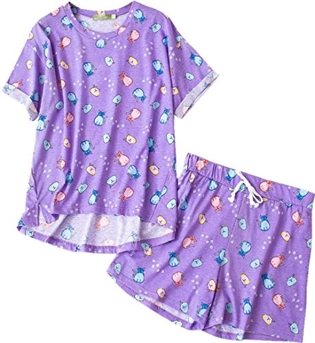 Amoy madrola Women's Sleepwear Cute Cartoon Print Tee and Shorts Pajama Set SY214 (Lovely Cotton Short)