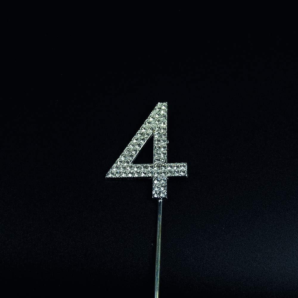 numeri da 1 a 9 con strass D/ÉCOCO per compleanno e feste di matrimonio 4 Decorazione per torta con numero
