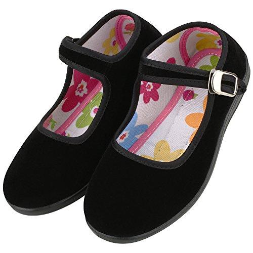 Women's Kids Velvet Mary Jane Shoes Ballerina Ballet Flats Yoga Exercise Shoes (Little Kid 2.5-3, (Velvet Ballerina Women Flat Shoes)