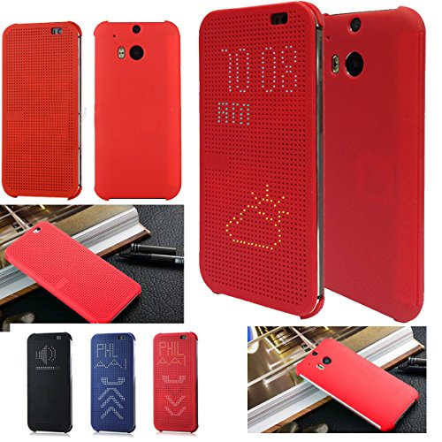 Microtimes FOR HTC ONE M8 2014 DOT VIEW HC M100 FLIP CASE COVER for HTC one M8 (M100 RED)
