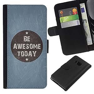BearCase / Cuero de la tarjeta la carpeta del tirón Smartphone Slots Protección Holder /// HTC One M9 /// Ser impresionante Hoy azul cita de motivación