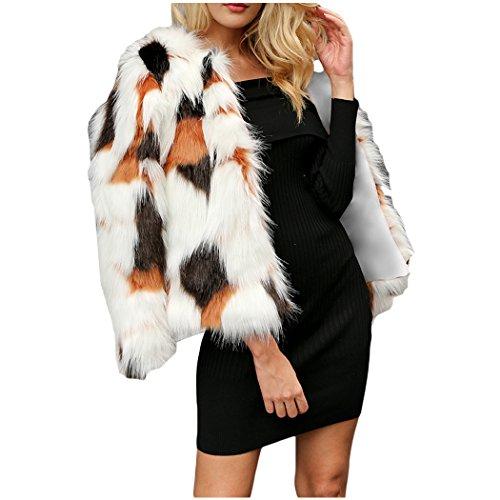 XWDA Faux Fur Coat Women Fashion Fluffy Warm Jacket Elegant Color Block Outerwear Overcoat