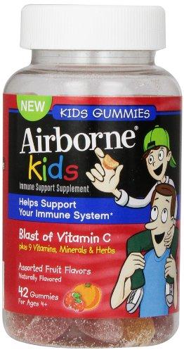 Supplément de soutien immunitaire Gummies aéroportées enfants vitamine 667mg, assorties des arômes de fruits, 42 comte