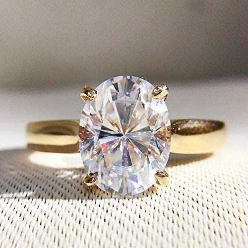 Diamondtresure 2 Carat Oval Moissanite Engagement Ring Halo Solitaire 14K Yellow Gold Over