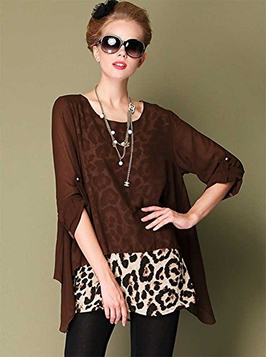 QZUnique Women's Plus Size False 2 Tops Sexy Leopard Shirt Tunic Coffee 3XL