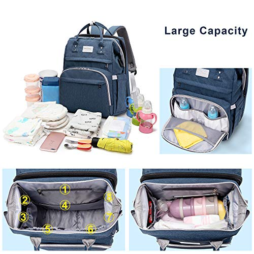 SNDMOR Mummy Diaper Bag Backpack-Large Capacity Baby Changing Bag-Travel Bassinet Foldable Baby Bag-Portable Fodable Crib(Navy Blue)