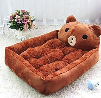 ZHJZ Suave Casa Extraíble y Lavable de Dibujos Animados Mascota Perro Cama Perro cojín marrón: Amazon.es: Productos para mascotas