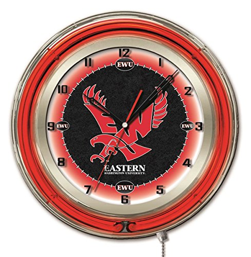 - Eastern Washington Eagles HBS Neon Red College Battery Powered Wall Clock (19
