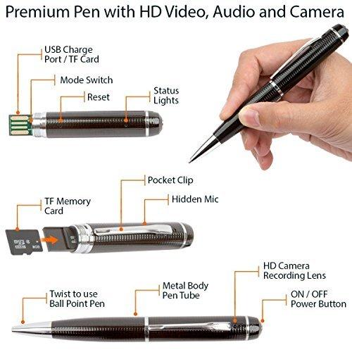 Spy Gadget® Hidden Camera, Spy Camera Pen & 720p HD Video Camera Recorder DVR – Record in 1280×720 HD Video Resolution – 8GB SD Card Included