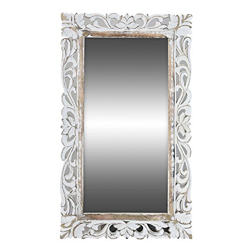 Indian Heritage - Wooden Mirror 18x30 Mango Wood Carved Mirror Frame in White Wash Finish - Carved Wood Frame
