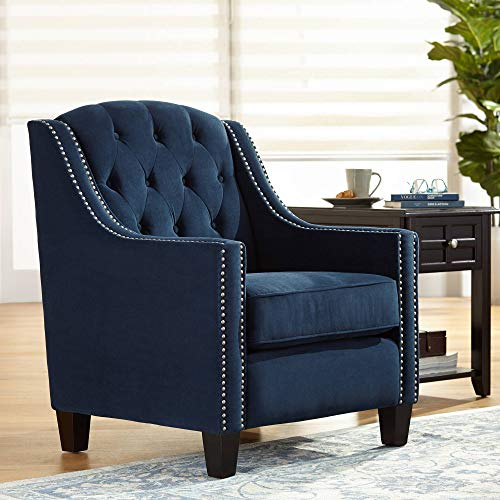 Tivoli Bella Ink Blue Velvet Tufted Armchair – 55 Downing Street
