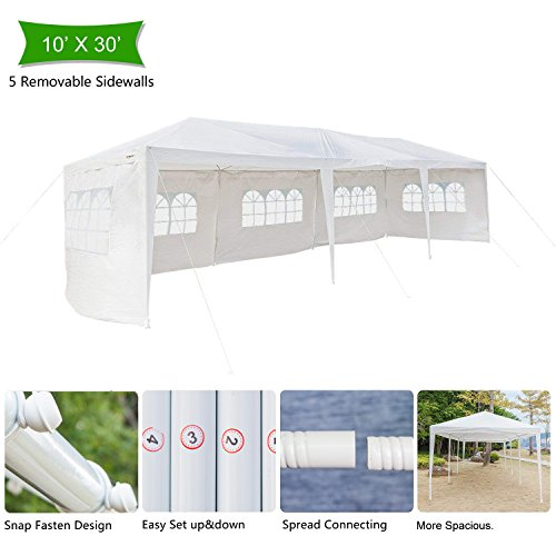 (Z ZTDM 10' x 30' Canopy Tent Outdoor Party Wedding Tent with 5 Removable Sidewalls, Gazebo Pavilion Event Dancing Canopy, Upgrade Tube Steel,FREE Stainless Stake and Nylon Ropes)