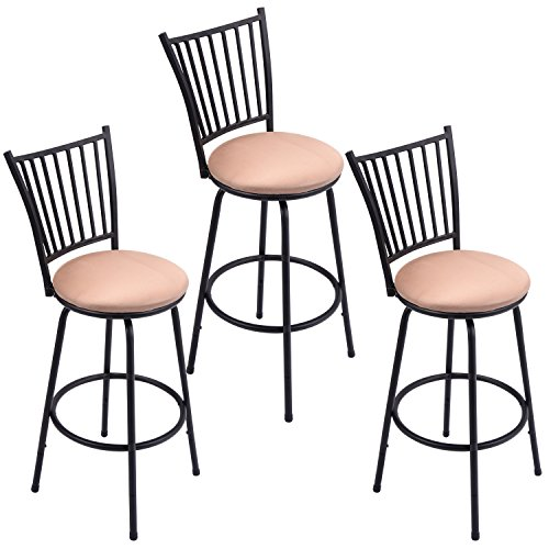 GentleShower Barstool, Set of 3 Modern Swivel Bar Stool Counter Height Chair Bistro Pub Breakfast Kitchen Stools Chair (Breakfast Chairs)
