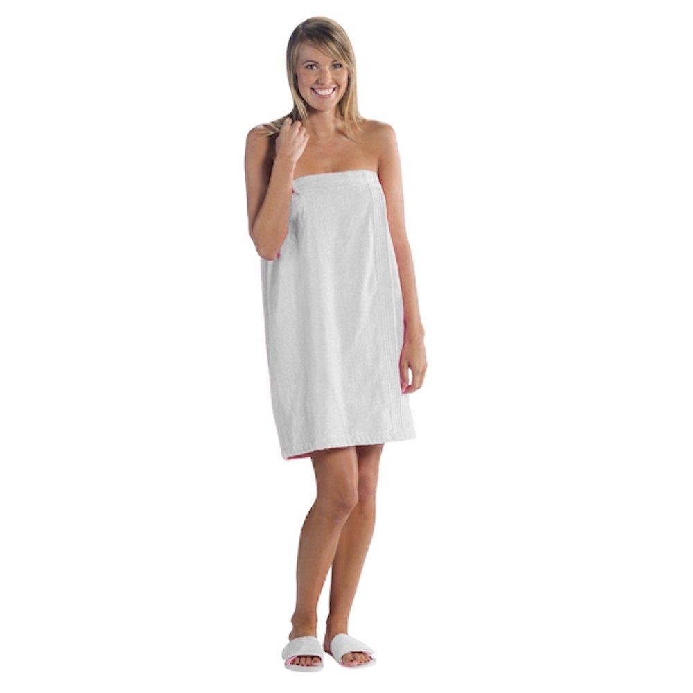 Luna Bianca Women's Terry Velour Cotton Super Absorbent Spa/Body Wrap (1 Wrap, White)