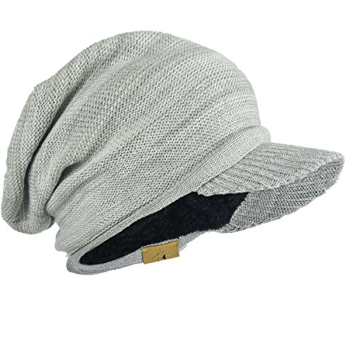 Mens Slouch Fleece Winter Visor Beanie Knit Cap Hat Oversized B319 (White-Light Grey) (Youth Camo Stocking Cap)