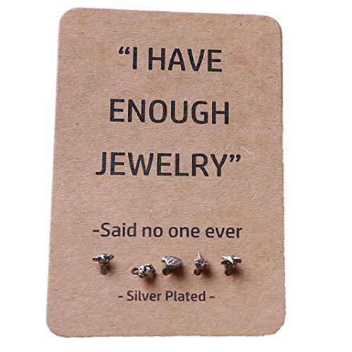 Sperrins Earrings Set Women Mini Earrings Starfish Turtle Coconut Crab Shell Shape Earrings Stud Earring Earrings Pin Silver Color (Mini Starfish Earrings)