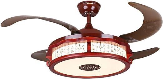Chandelier Lámparas de araña Madera Maciza Invisible Ventilador ...