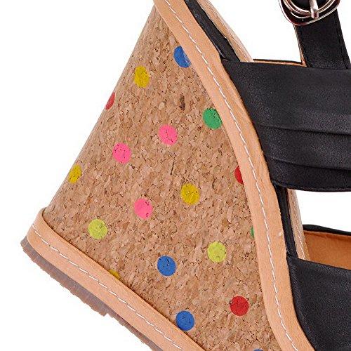 Amoonyfashion Vrouwen Solid Pu Hoge Hakken Open Teen Sandalen Zwart
