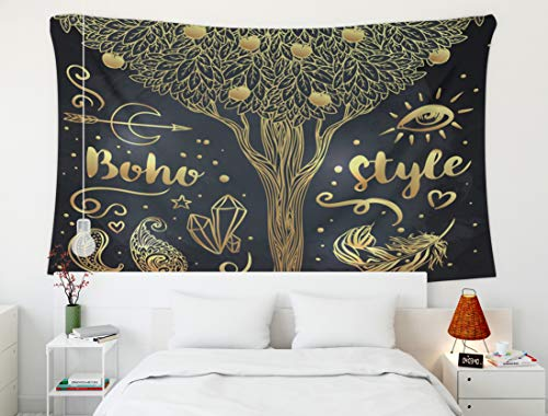 Crannel Psychedelic Tapestry Love Set Ornamental Boho Style Elements Gold Tattoo Template Trendy Tribal Symbol Tapestry 80x60 Inches Wall Art Tapestries Hanging for Dorm Room Living Home Decorative ()
