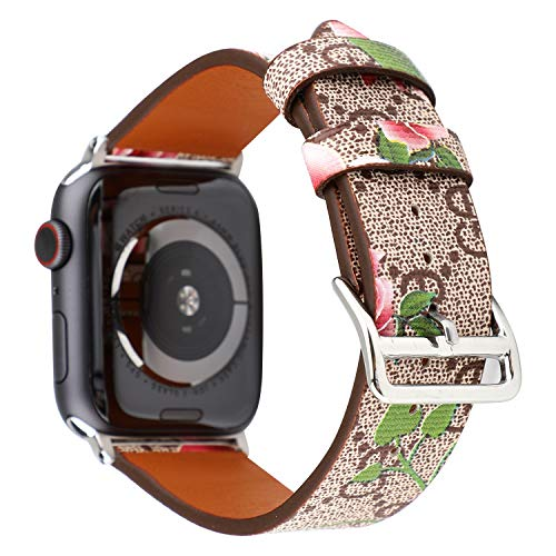 for Apple Watch 4 40mm Leather Band Flower Prints iwatch 38mm Series 3 2 1 Strap Wristwatch Bracelet Khaki Pink Watch Belt Replacement.(Khaki ()