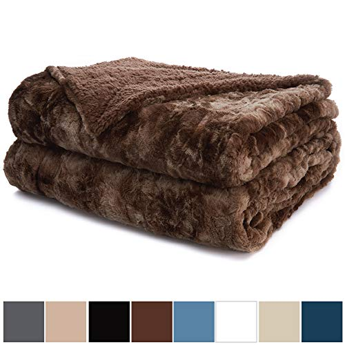 - The Connecticut Home Company Luxury Faux Fur Bed Throw Blanket (Queen/Full Size 90x90) Soft, Large Wrinkle Resistant Reversible Blankets, Warm Hypoallergenic Washable Throws for Beds (Brown Tie Dye)