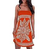 Partywear,Ba Zha  Women Strapless Floral Bohemian Casual Mini Beach Dress Cover-ups Dress Skirts Tank Tops Midi Dress Shorts Mini Dress Shirt Holiday Fashion Summer Tank Tops (S, Orange)