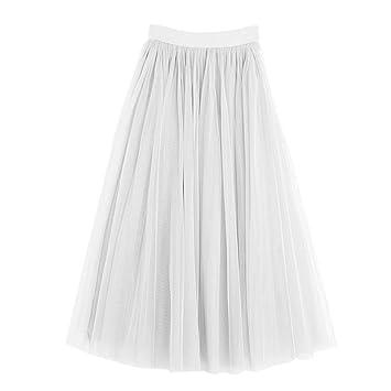 fatteryu - Falda de Tul para Mujer Adulta con Tres Capas de Seda ...