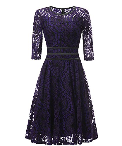 del largo Maxi morado Vintage mujeres noche Encaje MEI La amp;S vestidos Lace de partido Floral t0wqA7