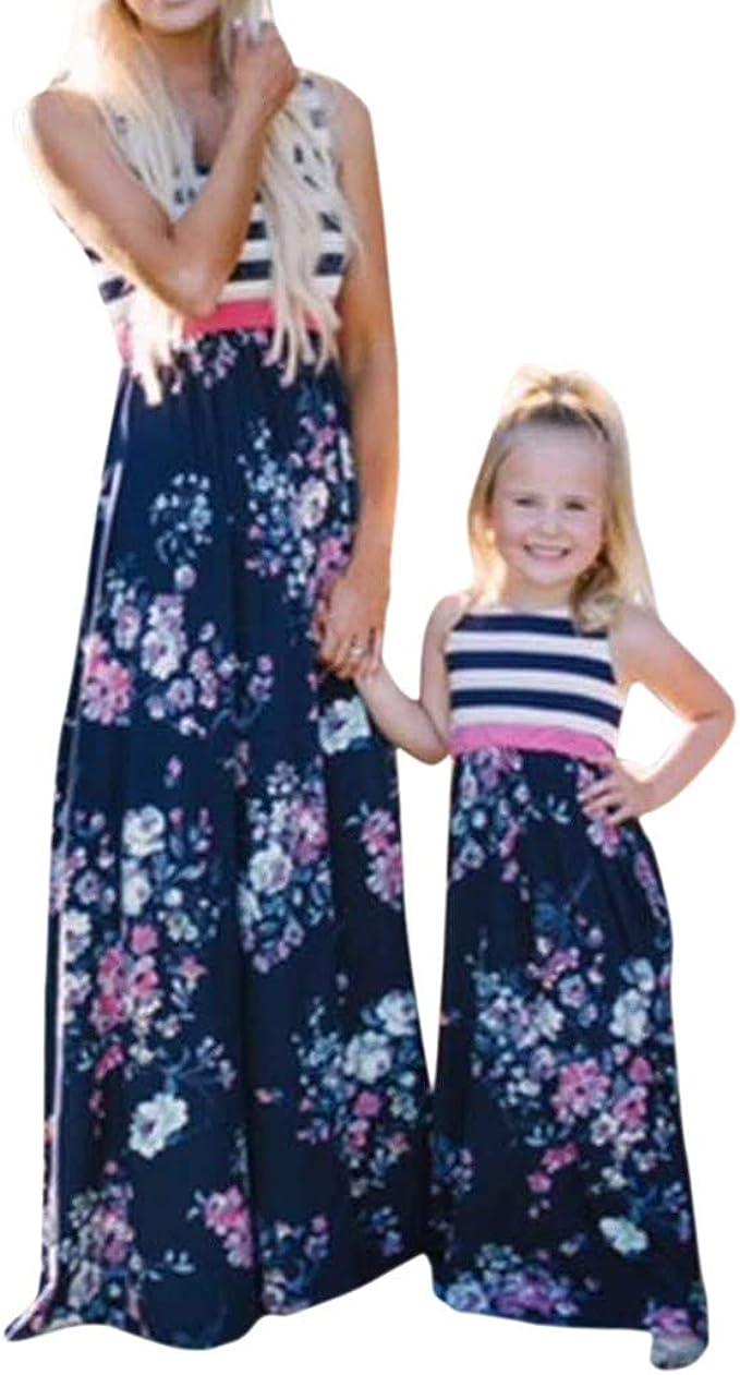 LUCKDE_Partnerlook Mama Tochter Kleidung, Mutter Tochter Kleid Etuikleider  Dirndl Shirtkleider Strandkleider Matching Dress Outfit Sommerkleider