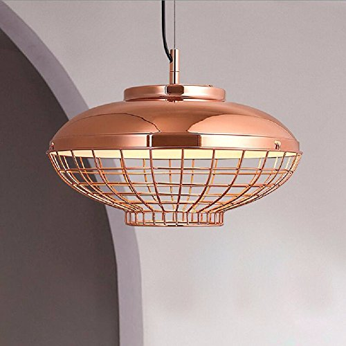 HQLCX Chandelier Nordic Modern Electroplated Metal Mesh Cage Single Head Pendant Lamp by HQLCX-Chandeliers