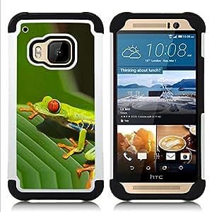 """Hypernova Híbrido Heavy Duty armadura cubierta silicona prueba golpes Funda caso resistente Para HTC One M9 /M9s / One Hima [Hojas Hoja verde de la rana venenosa Amazon Tropic""""]"""