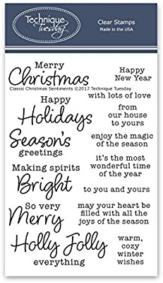 Christmas Card Phrases.Classic Christmas Sentiments Clear Stamps Christmas Stamps Clear Rubber Stamps Photopolymer Stamps Card Making Supplies