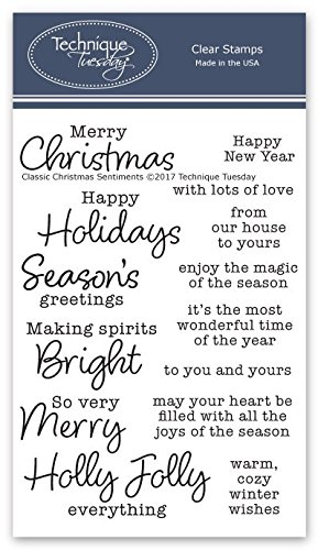 Classic Christmas Sentiments Clear Stamps  Christmas Stamps | Clear Rubber Stamps | Photopolymer Stamps | Card Making Supplies