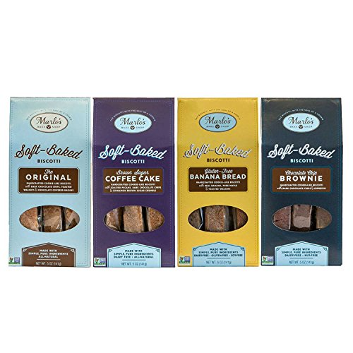Marlo's Bakeshop Soft Baked Biscotti Gourmet Sampler Pack - Coffee Cake, Brownie, Choc Chip, GF Banana Bread - Non-GMO, Wholesome Indulgence (4 Pack) (Sampler Biscotti)