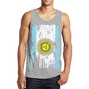 SpiritForged Apparel Distressed Argentina Flag Men's Tank Top, Light Gray XL