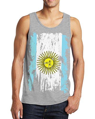 SpiritForged Apparel Distressed Argentina Flag Men's Tank Top, Light Gray - Argentina Sun