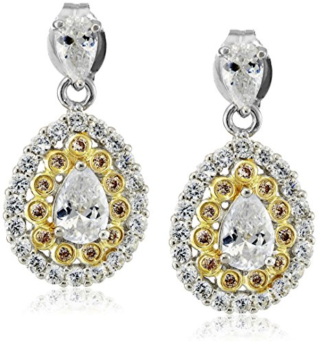 Rhodium and 18k Yellow Gold Plated Sterling Silver Two Tone Pear Shape White Cubic Zirconia and Champagne Cubic Zirconia Dangle Earrings (2 cttw) (Twist Pear Shape Earrings)