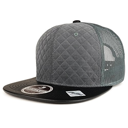 Trendy Apparel Shop Suede Quilt Mesh Snapback Cap With PU Leather Flat Bill - Charcoal Black